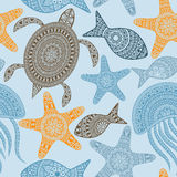Vector Seamless Pattern with turtles, starfishes, and jellyfishe Stock Photo