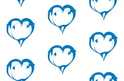 Vector seamless pattern of two bouncing dolphin couple in love Stock Photo