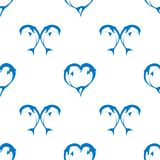 Vector seamless pattern of two bouncing dolphin couple in love Stock Photography