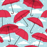 Vector seamless pattern with umbrellas Stock Photo