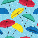 Vector seamless pattern with umbrellas Stock Photos