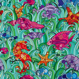 Vector seamless pattern Underwater creatures. Ocean background. Vector seamless pattern with hand drawn fishes, starfish, shells, seaweeds and sea-horse Stock Image