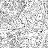 Vector seamless pattern of underwater wild animals and plants. Stock Image