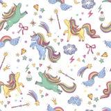 Vector seamless pattern of unicorn, clouds, rainbow and magic wand. Background with rainbow and character unicorn, illustration of dream myth magic unicorn Stock Image