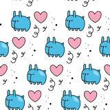 Vector seamless pattern for Valentine`s day. Cute rabbit and hearts. Hand-drawn style. Cartoon style.  vector illustration