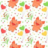 Vector seamless pattern with Valentine`s Day elements and piggy. Pattern in cartoon style. Vector seamless pattern with Valentine`s Day elements and piggy vector illustration