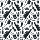 Vector seamless pattern of vaporizer and accessories stock image