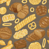 Vector seamless pattern with various bakery products. Vector illustration for your design Royalty Free Stock Photos