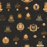 Vector seamless pattern with various beer labels. Vector seamless pattern on the theme of beer with various beer labels with images of barrels, beer glasses vector illustration