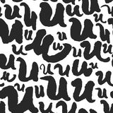 Vector Seamless Pattern with Calligraphy Letters U Royalty Free Stock Photography
