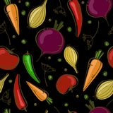 Vector seamless pattern with vegetables on black background. Vector seamless pattern with vegetables: onion, peppers, beat, carrot and tomato. On black Royalty Free Stock Photos