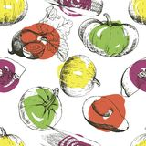 Vector seamless pattern of vegetables. Pumpkin, corn, beetroot, avocado. Hand drawn engraved vintage illustration. Royalty Free Stock Photography