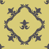 Vector seamless pattern with victorian frame and ornate elements. Vector seamless pattern with victorian elements and frame Stock Photos