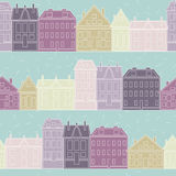 Vector seamless pattern with vintage colorful hous Royalty Free Stock Photo