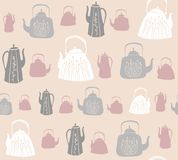 Vector seamless pattern with vintage kettles and teapots. stock images