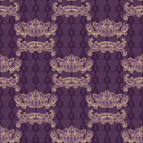 Vector seamless pattern. Vintage outline baroque scroll ornament Royalty Free Stock Images