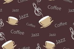 Vector seamless pattern in vintage or retro coffee style. Coffee cups with musical treble clef, words jazz and coffee on. Chocolate brown backgroun. Design for vector illustration