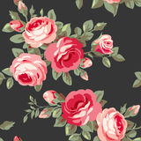 Vector seamless pattern with vintage roses Royalty Free Stock Photo
