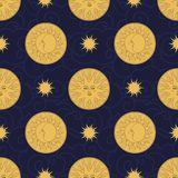 Vector seamless pattern in vintage style. Moon and sun on dark background. Golden monn and sun on dark blue background. Wallpaper in antique style Royalty Free Stock Photography