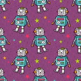 Vector seamless pattern with vintage toy robot Stock Images