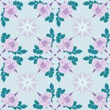 Vector seamless pattern. Violet roses on light blue background with geometric decoration. stock illustration