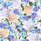 Vector seamless pattern with violets and roses flowers. Modern floral vector art in watercolor style for sales, 8 March, wedding, Valentine`s Day, Mother`s Day Royalty Free Stock Photo