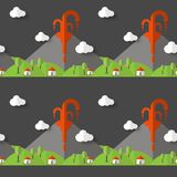 Vector seamless pattern volcanic eruption. Smoke and lava from the crater, the village and trees at the foot. Used for postcards, stock illustration