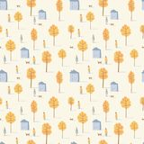 Vector seamless pattern of walking people with dogs among yellow trees and houses. Autumn mood. royalty free stock images