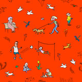 The vector seamless pattern with walking and resting people. The vector picture. EPS 8 Royalty Free Stock Photos