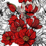Vector seamless pattern for wallpaper design with flowers Royalty Free Stock Photos