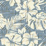 Hounds tooth plaid with abstract hibiscus flowers. Vector seamless pattern wallpaper for summer wear fabric Stock Images