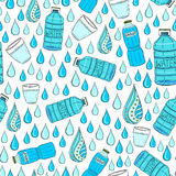Vector seamless pattern with water drops and bottles. Wrapping or packaging-design Royalty Free Stock Photography
