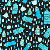 Vector seamless pattern with water drops and bottles. Wrapping or packaging design on dark backdrop Stock Photo