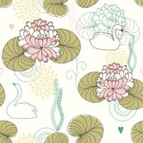 Vector Seamless Pattern of Water Lilies and Swans Royalty Free Stock Photo