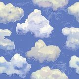 Vector seamless pattern with watercolor blue. Vector seamless pattern with watercolor cute clouds on blue sky stock illustration