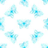 Vector seamless pattern of watercolor butterflies. Blue butterflies on white background Royalty Free Stock Photography