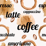 Vector seamless pattern with watercolor coffee beans and splashes Stock Image