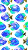 Vector seamless pattern with watercolor discus fish Royalty Free Stock Image