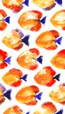 Vector seamless pattern with watercolor discus fish. Vector seamless pattern with orange watercolor discus fish Stock Photo