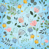 Vector seamless pattern. Watercolor flowers stock image