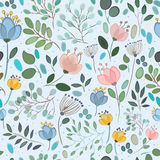 Vector seamless pattern. Watercolor flowers royalty free stock photo
