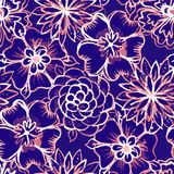 Vector Seamless pattern with Watercolor Flowers Stock Photography