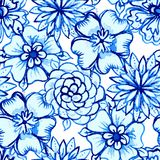 Vector Seamless pattern with Watercolor Flowers Stock Photos