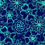 Vector Seamless pattern with Watercolor Flowers Royalty Free Stock Photography