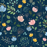 Vector seamless pattern. Watercolor flowers Stock Photos