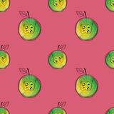 Vector Seamless pattern of watercolor green apple with black hand-drawn elements. On contrast pink background. Grouped Royalty Free Stock Photos