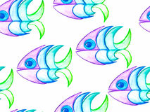 Vector Seamless Pattern. Watercolor Hand Drawn Funky Fishes Stock Photos