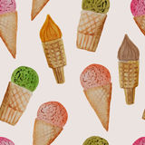 Vector Seamless Pattern with Watercolor Hand Drawn Ice Cream Stock Photos
