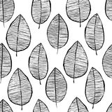 Vector seamless pattern with watercolor hand drawn leaves. Black white outline background. Trendy scandinavian design stock illustration