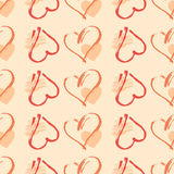 Vector seamless pattern with watercolor heart. Stock Photography